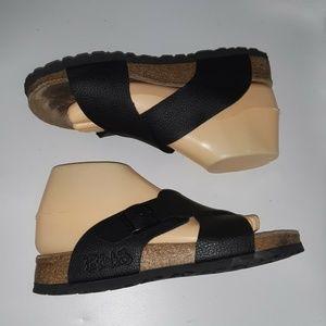 Birki Birkenstock Black Strappy Sandal Slides 38